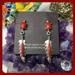 🚫RESERVED🚫Native silver/red coral earrings